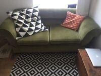 Vintage antique green drop arm sofa / sofa bed