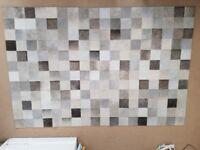 Real Fur Rug - Grey Mosaic Design (approx: 180 x 120cm)