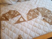 'Just married' hessian bunting
