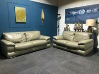 Grey/Beige Leather suite 3 seater and 2 seater sofa Oatmeal colour