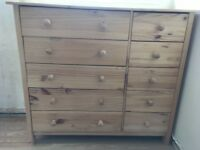 Matching Pinr double wardrobe 5+5 chest if drawers and single bedside unit