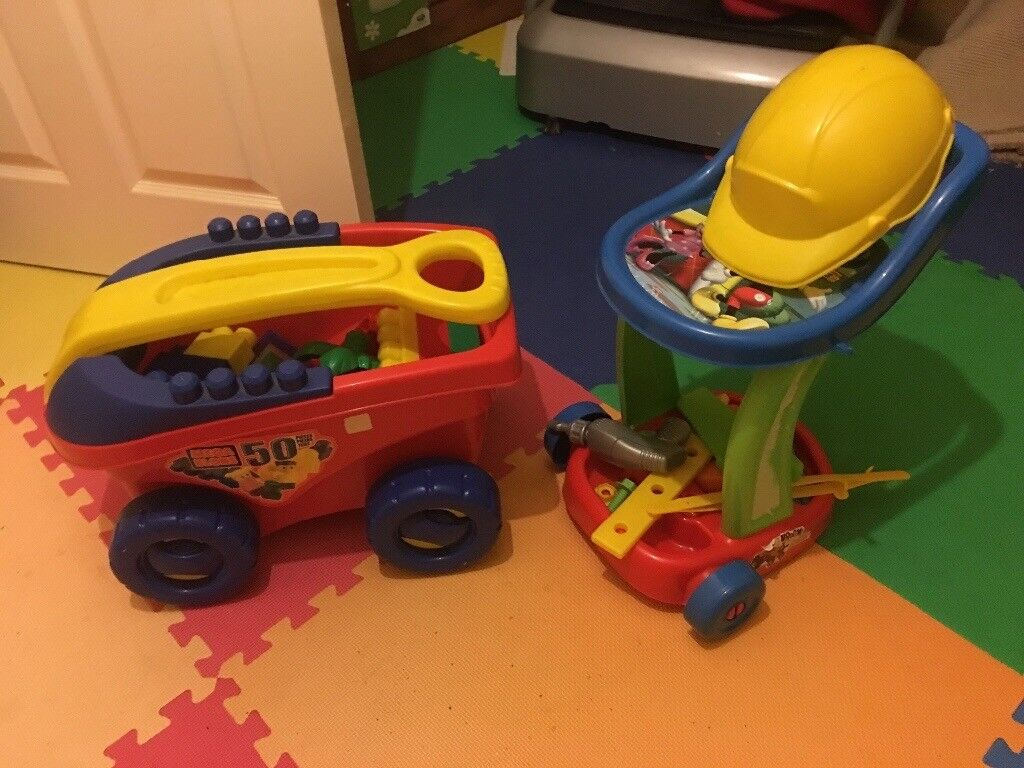 Mega bloks pull along cart and Mickey Mouse tool trolley