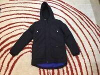 WORN TWICE! Boys Black Padded Hooded M&S Coat age 10-11