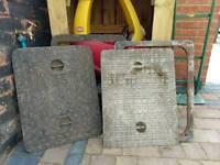 Cast iron manhole covers + frame x2