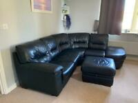 **REDUCED** Black leather corner sofa with foot stall