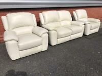 Sofology Ivory colour leather power recliner sofa set can deliver local 🚛👍🏻😁