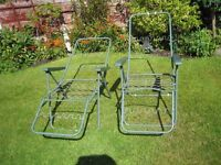 2 X Patio Chairs Sunbed Garden Adjustable Furniture Outdoor Sun Loungers {No Pads}