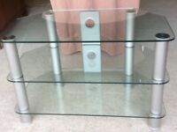 Glass and chrome TV/DVD stand