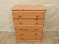 Pine chest of 5 long drawers (Delivery)