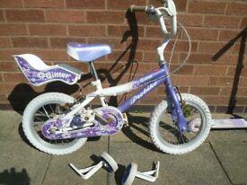 "Girls bike 14"" wheels purple"