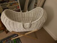 White Moses Basket/Crib and Stand