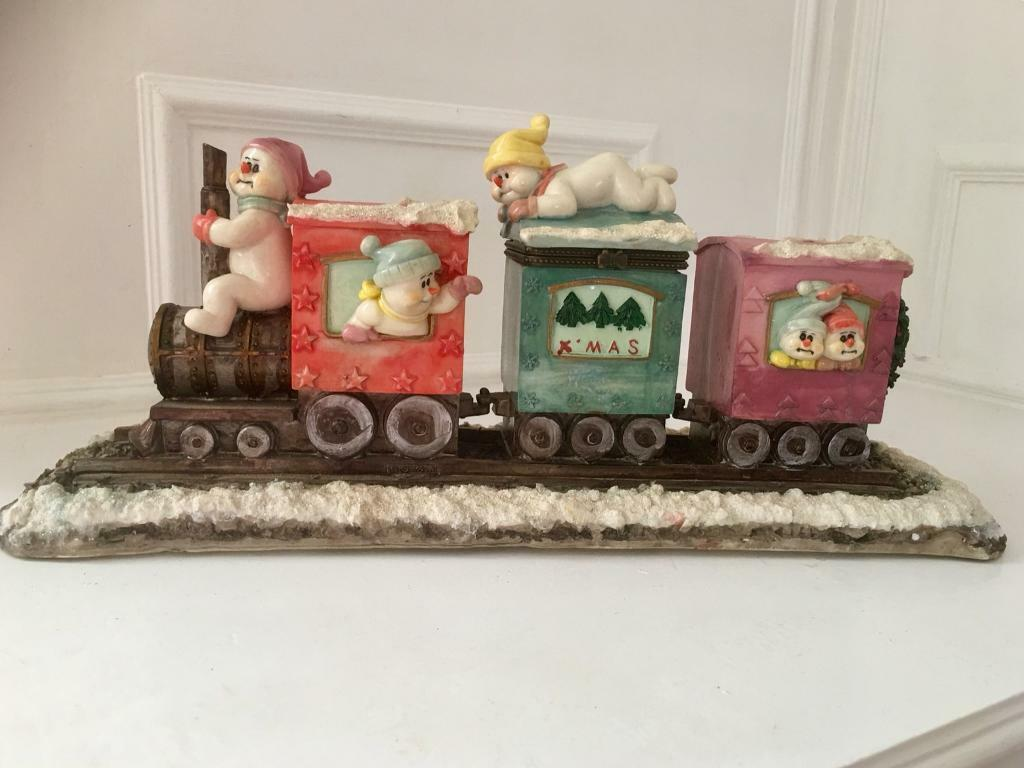 Christmas Snowman Train Money Box.