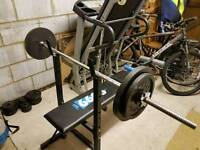 York bench, barbell and weights