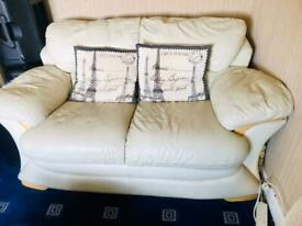 Rochester Ivory leather 3+2 seater sofa