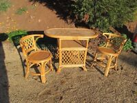 Bamboo Table & Two Chairs