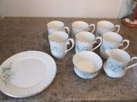 6 Bone China Mugs with Milk Jug, Sugar Bowl and Plates