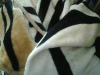 Tiger patterned fleece throws