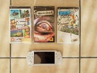 White PSP excellent condition with 3 games (needs battery)