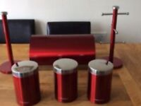 Morphy Richards accents red bread bin, 3 x canisters, kitchen (towel holder and mug tree unused)