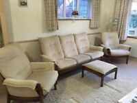 Ercol 4 Piece Suite - 3 Seater Sofa, 2 x chairs, Footstool