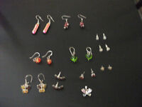 Earrings - Selection of Studs and Drop + 1 Butterfly Pendant