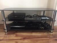 Gloss Black glass and metal TV stand