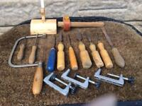 Assortment wood chisels files clamps