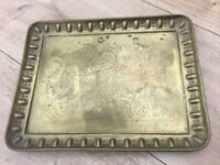 Vintage decorative Brass Tray, engraved patterns