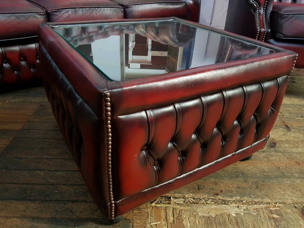 Saxon Oxblood Chesterfield Coffee Table In Barwell