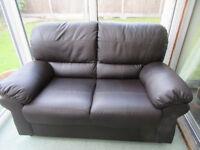 Brown imitation leather 2 seater sofa - free