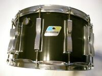 """Ludwig 484 Coliseum 6-ply maple snare drum 14 x 8"""" - Blue/Olive, Chicago - early '80s - Black Cortex"""