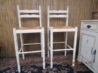 Very Pretty Pair Of Shabby Chic Farmhouse Breakfast Kitchen Stools/Chairs/Bar