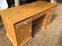 5 Draw Solid Light Oak Desk with Cupboard