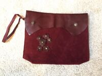Red leather and suede bag