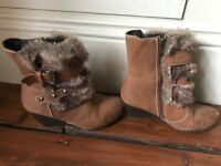 Ladies Marco Tozza fur and leather ankle wedge boots size 4