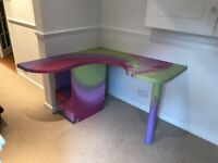 Bespoke hand made & painted Childs corner desk with Fairy image & side drawer set