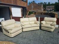 Cream Real Leather Sofa - 3 piece - £450 ono