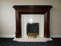 Fireplace and fire, mahogany surround,marble inset/hearth,Verine gas fire.