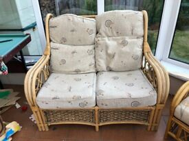 Bamboo wicker cane style conservatory sofa
