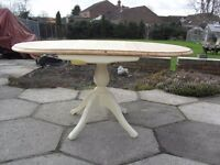Shabby Chic Solid Pine Farmhouse Country Drop Leaf Table In Farrow & Ball Cream No 67