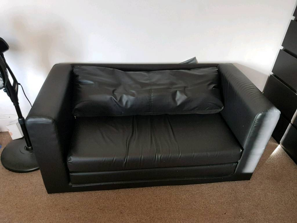 Astounding Black Leather Ikea Sofa Bed In Caerphilly Gumtree Onthecornerstone Fun Painted Chair Ideas Images Onthecornerstoneorg