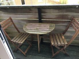 Small outdoor semi circle wooden table and 2 chairs