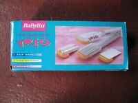 Babyliss crimping set with 3 different crimpers, good condition with original box