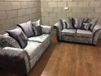 Crushed velvet sofa set only £499 brand new