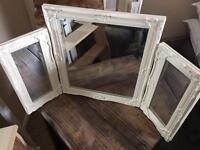 3-side mirror, white, brilliant condition