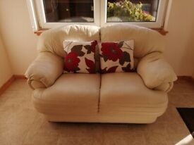 2 x White/Cream Leather 2-Seater Settees