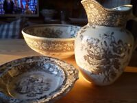 Large Victorian transfer print bowl, pitcher and cake stand