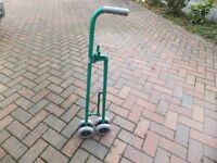 Karristicks lightweight, wheeled shopping bag carrier with two hooks.