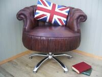 Stunning Brown Leather Chesterfield Swivel Tub Chair.