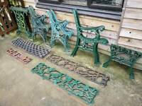 Cast iron bench and table ends